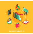 Business Analytics Isometric Round Composition vector image