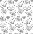 butterfly set pattern black on white simbols vector image