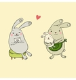 Cute bunnies Letter and baby vector image