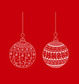 set of white hand drawn christmas tree ball toy vector image