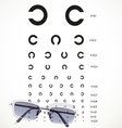 Table for eye tests with glasses vector image