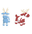 two cute cartoon deers isolated on white vector image