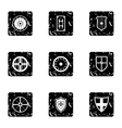 Protective shield icons set grunge style vector image