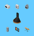 isometric technology set of stove cloth iron vector image