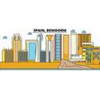 Spain benidorm city skyline architecture vector image