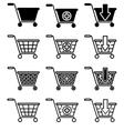 set of sale basket pictogram vector image