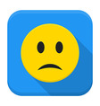 Sad yellow smile app icon with long shadow vector image