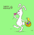Easter bunny rabbit with basket full of eggs vector image