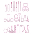 cosmetics line icon set vector image
