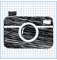 digital photo camera icon with pen effect on paper vector image