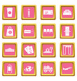 airport icons pink vector image