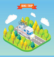 camper van with bicycle on a roof travel and vector image
