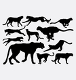 Cheetah wild animal silhouettes vector image