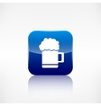 Glass of beer web icon Application button vector image