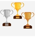 Gold Silver Bronze trophy cup vector image