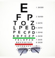 Table for eyesight test with glasses vector image