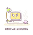 yellow color laptop with lamp and cup of vector image