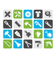 Silhouette Construction tools object icons vector image