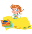 cute girl writing on big paper vector image