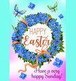 easter wreath of spring flowers greeting card vector image