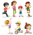 children in many actions vector image vector image