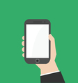 Hand with mobile smart phone vector image