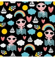 Baby boy on vacation seamless pattern vector image