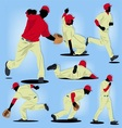Baseball Player Silhouette set vector image
