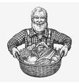 Farmer holding a basket of vegetables Natural vector image