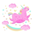 Rainbow And Unicorn Funny Girly Drawing vector image