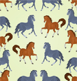Seamless texture black and auburn horses vector image