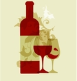 wine collection 2015 glasses and bottle vector image