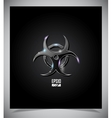 Transparent glass biohazard sign vector image