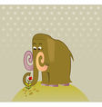 Cartoon Mammoth with flower vector image vector image