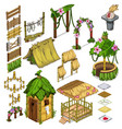 elements of everyday life of the ancient village vector image