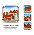 Icon set with red tile roof vector image
