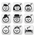 Sleeping dreaming people faces buttons set vector image