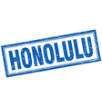 Honolulu blue square grunge stamp on white vector image