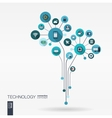 Abstract technology background Growth flower vector image