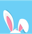 happy easter with bunny ears on blue background vector image
