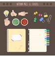 Set of pages notebook with stickers colored tape vector image