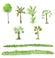 set of trees drawing by watercolor vector image