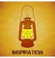 Vintage mine kerosene lantern over yellow grunge vector image