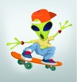 Cartoon Alien Skateboarding vector image
