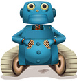 Blue robot with wheels vector image