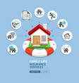 house insurance services house with lifebuoy vector image vector image