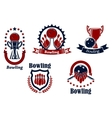 Bowling icons with balls ninepins and trophy vector image vector image