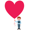 Young man gives a Valentine a heart vector image vector image