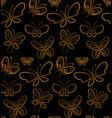 butterfly set pattern gold on black simbols vector image