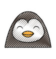 Cute scribble penguin face cartoon vector image